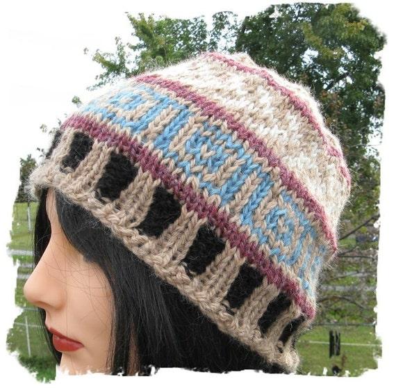 Alpaca Knitted Hat - Hand knit Fair Isle