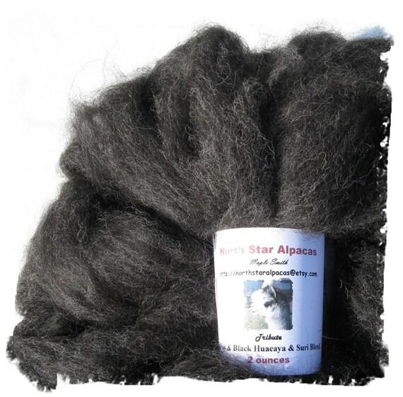 Charcoal Gray Suri and Huacaya Blend Roving - 4 ounces