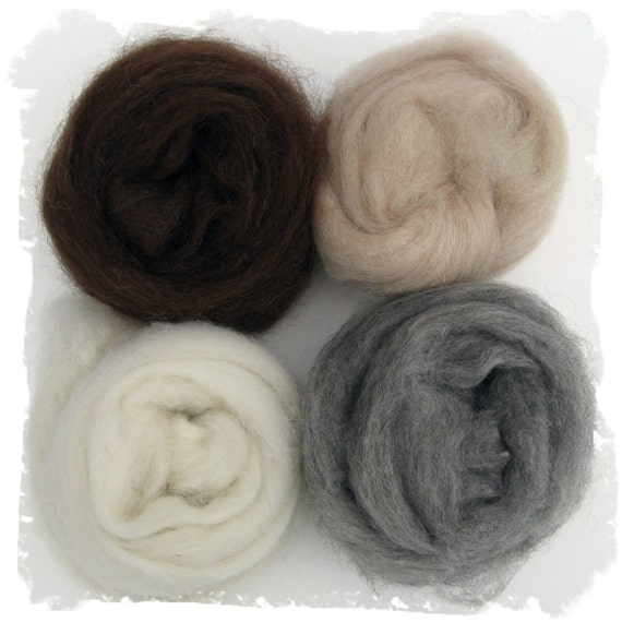 Alpaca Roving - Four Natural Colored Samples - Brown Beige White Gray Fiber for Spinning and Felting - 4 ounces