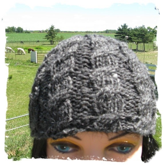 Hand Knit Cabled Hat - Small Man or  Medium Woman - Charcoal Gray made with my FarmGrown Alpaca Yarn