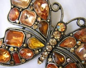 Vintage Glass & Rhinestone Butterfly Brooch Amber Gold Orange