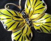 Yellow Black Enamel Butterfly Brooch . Vintage Estate . B22 SALE