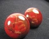 Vintage Red Ceramic Earrings with Gold detailing Clip On Earrings . E38