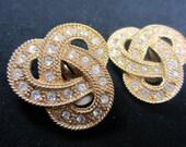 Large Goldtone Crystal Rhinestone Knot  Clip on Earrings . E14