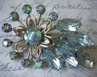 Vintage Baby Blue Rhinestone Brooch Pin  - No 23