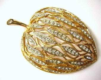 Vintage Sparkling Pear Fruit Rhinestone  Brooch