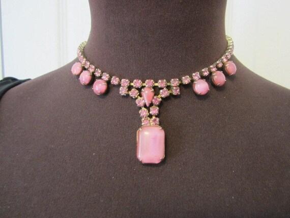 Vintage Pink Opalescent Glass & Rhinestone Necklace