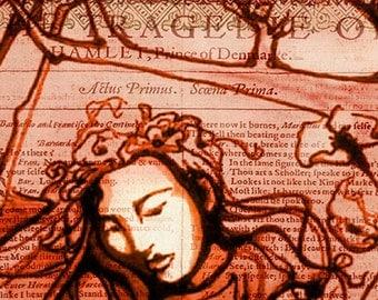 Romantic Ophelia art print - Shakespeare Folio Illustration