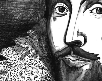 Shakespeare Portrait - The Tudor Illustration Series black and white art print