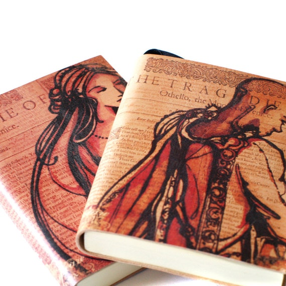 Pair of Othello Journals - Leatherbound Shakespeare Blank Book romantic couples