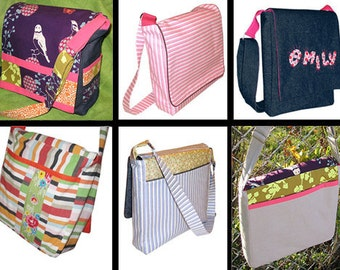 DIGITAL PDF PATTERN Sewing Messenger Bag Style Pattern : Book Bag, Satchel, Diaper Bag, Overnight Bag