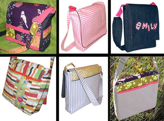 Messenger Bag Style Pattern PDF : Book Bag, Satchel, Diaper Bag, Overnight Bag