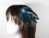 bright blue feather clip overdyed rooster feather clip polka dot accents nk249