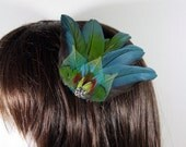 hair clip blue feather blue skeletal leaves parrot nk362