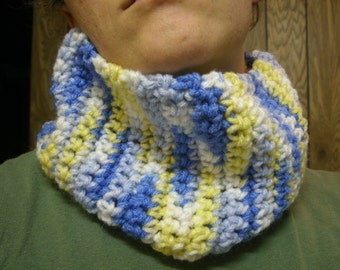 blue multicolored pull over your head neckwarmer