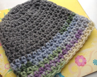grey watercolor childs hat