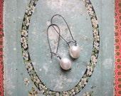 linnea earrings - white pearl sterling silver longer kidney wire