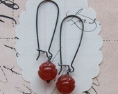 flora earrings - cherry red carved flower sterling silver