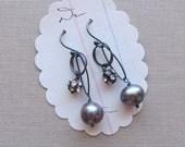gifts for her branda earrings gray freshwater pearl sterling silver swarovski crystal