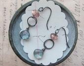 kinsey earrings - pink topaz gemstone mystic blue gemstone sterling silver