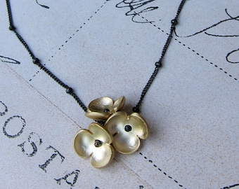 cassidy necklace - golden flowers sterling silver chain