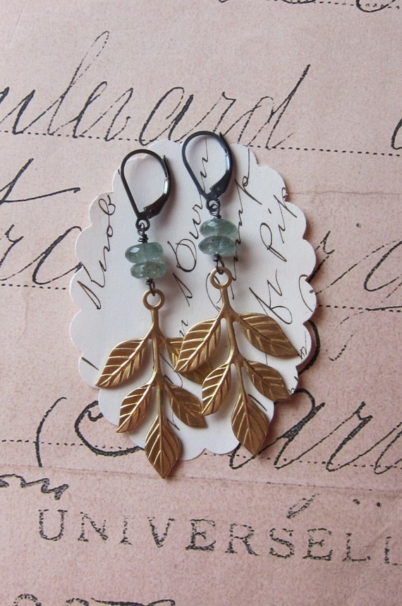 rosalie earrings - moss aquamarine