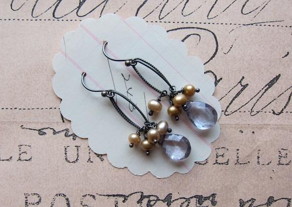 tammyann earrings - champagne pearls purple topaz sterling silver