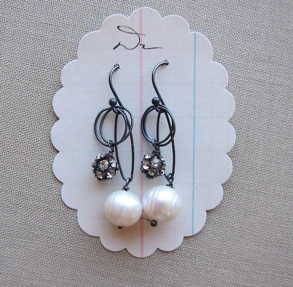 gifts for her branda earrings white freshwater pearl sterling silver swarovski crystal