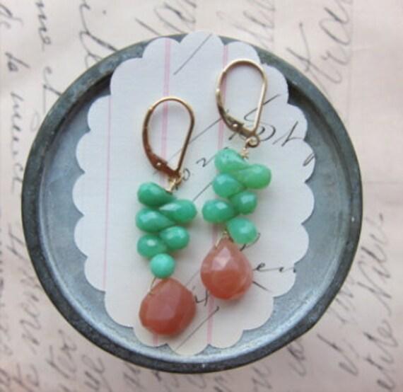 regan earrings 14k gold fill crysoprase peach moonstone