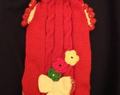 MADE TO MEASURE Hand knitted  pet or dog  sweater   -  other colors are possible