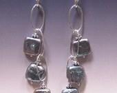 Purple iris pearl dangle earrings SS