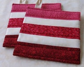Striped Pot Holders, set of 2 in Pink, Red and Cream