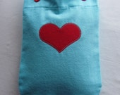 Aqua Flannel Hot Water Bottle Cover With Red Heart Applique
