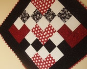 Red, Black and Cream Patchwork Hearts Quilt