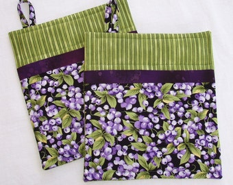 Hostess Gift- Blueberry Pot Holders with Purple and Green, set of 2
