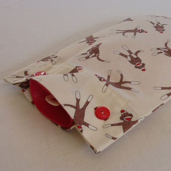 Sock Monkey Cream Brushed Cotton Hot Water Bottle Cover - Last one available in this fabric