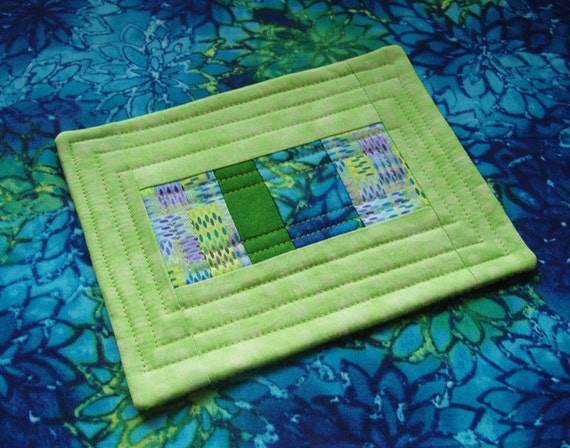 Lime and Turquoise Quilted Patchwork Coffee Coaster or Mug Rug