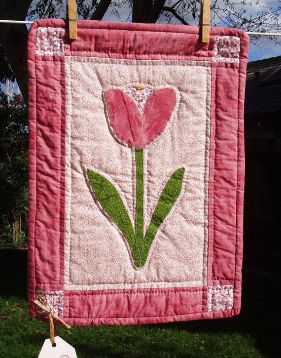 SALE Pink Tulip Mini Quilt, Doll Quilt,  was 32.00