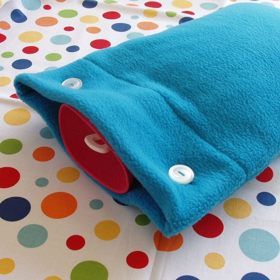 SALE Last One Available, Turquoise Fleece Hot Water Bottle Cozy