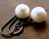 Freshwater Pearl and Oxidized Sterling Silver Earrings
