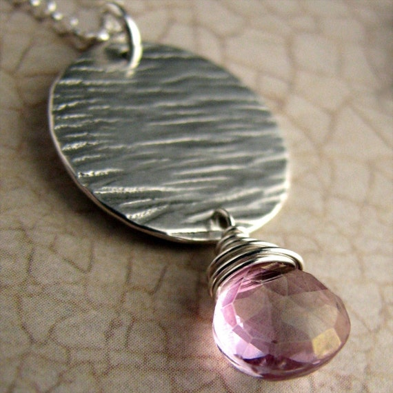 Pink Mystic Topaz Briolette and Textured Disc Necklace in Sterling