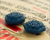 Blue Cinnabar Sterling SIlver Earrings - Jewelry by Jason Stroud