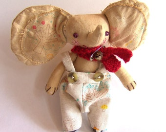 Small Cloth Doll, Coffee Stained Fabric, Elephant, Gift For Animal Lovers, Children's Bedroom, Shelf Display, Gift For Doll Collector
