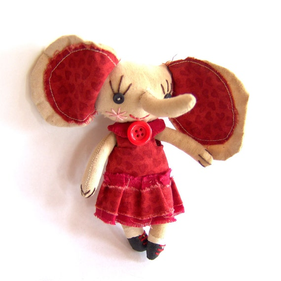 Primitive cloth doll, Nell the elephant