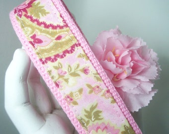 Wristlet Keychain Seaside Cottage Pink  Key Fob