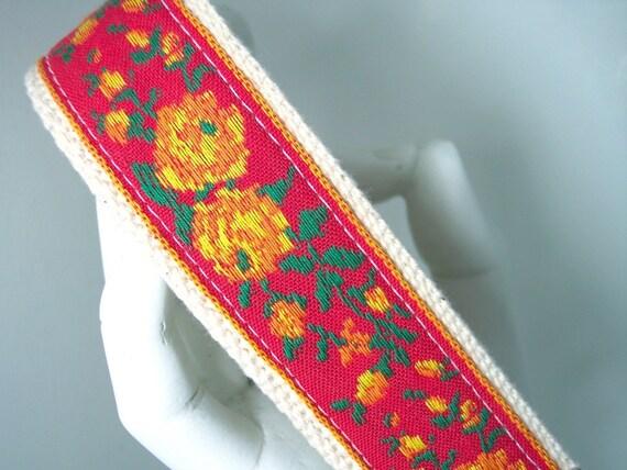 Wristlet Keychain Key Fob Vintage Floral Ribbon