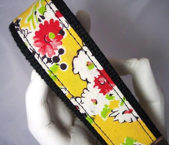 Wristlet Keychain Key Fob Vintage Yellow Floral