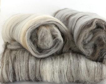 Natural - Hand Carded Batts Shetland, Jacob, Camel, Merino 300g
