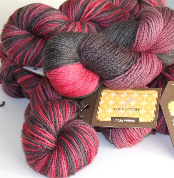Hand Dyed Yarn Double Knit Pure Wool 100g - Merry Berry
