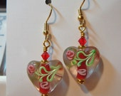 Glass Bead Heart Earrings with a Red Core and Red Swarovski Bead Accents gold